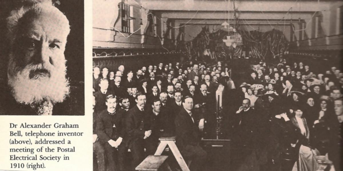 Dr. Alexander Graham Bell, at Melbourne Central Exchange, 17 August 1910