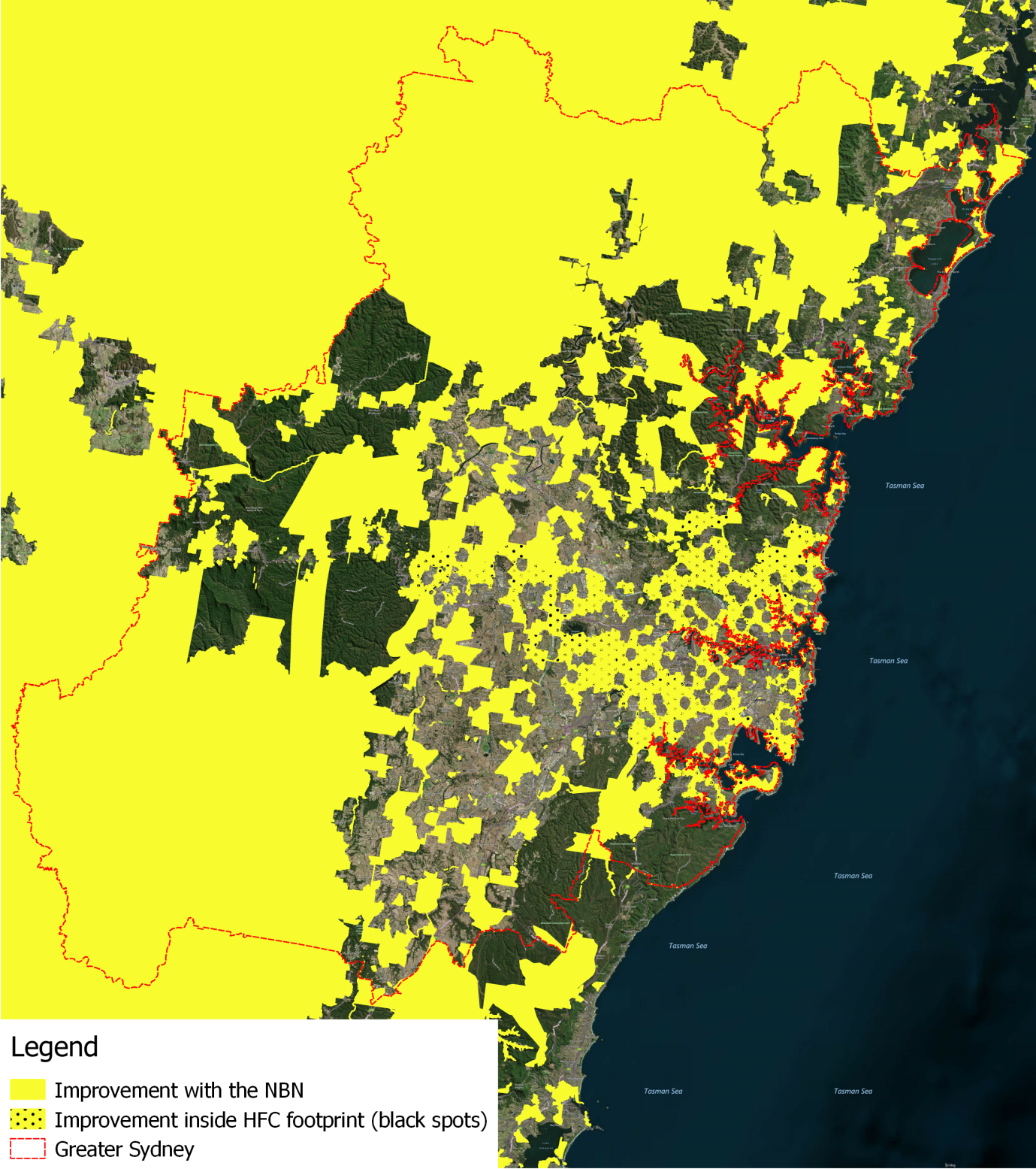 Estimated improvement in availability and access speeds in geographical areas in Greater Sydney