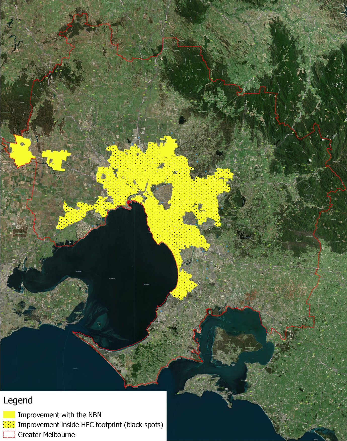 Estimated improvement in availability and access speeds in geographical areas in Greater Melbourne