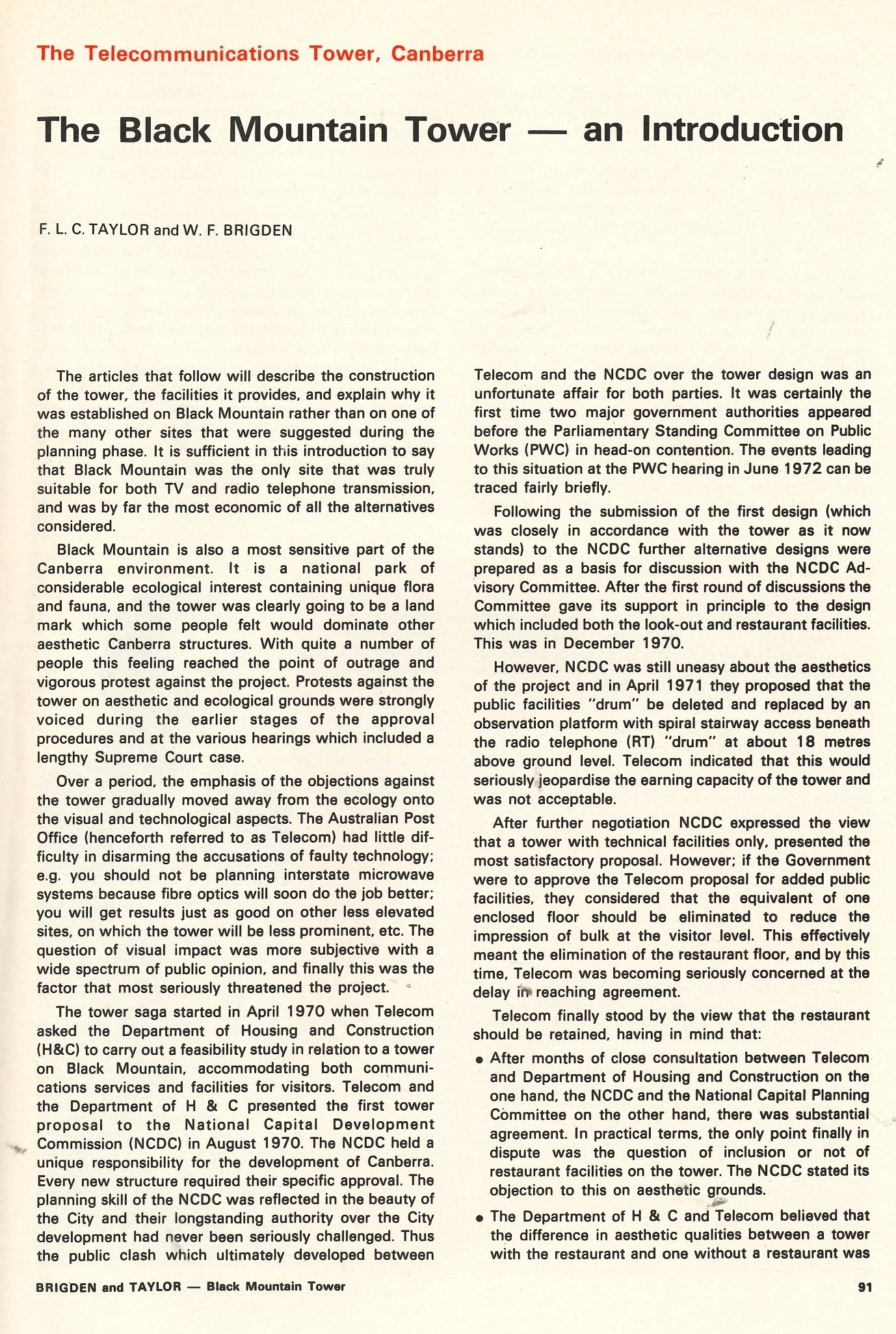 Page one of first paper