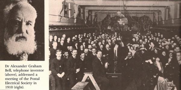 Dr. Alexander Graham Bell, at Melbourne Central Exchange, 17 August 1910