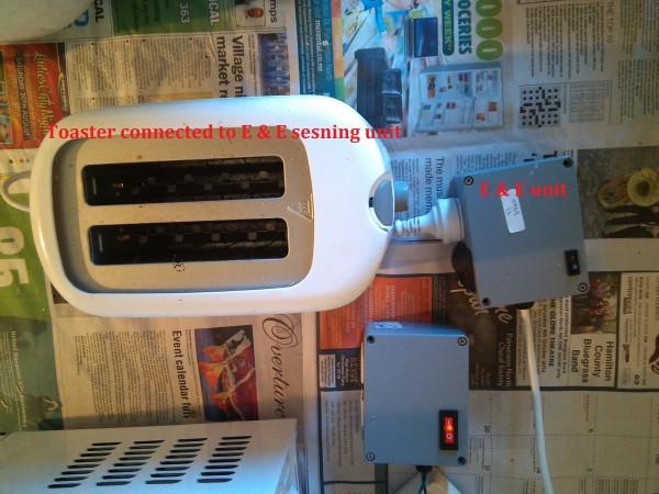 Figure 5. Toaster plugged to wellness protocol based E & E power usage and control unit