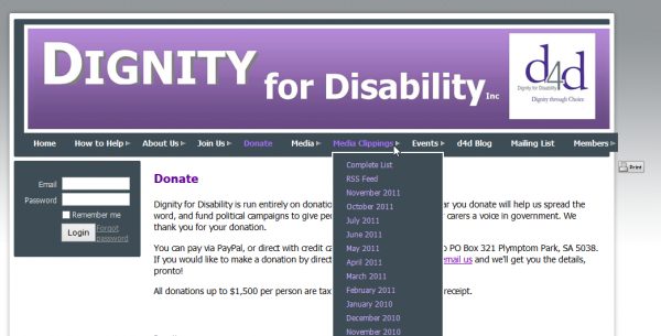 Inaccessible drop down menu employed in D4D site prior to redesign (click image to enlarge)