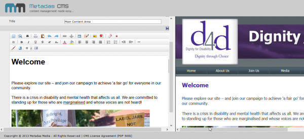 CMS employed in the redesign of the D4D website for ease of maintenance (click image to enlarge)