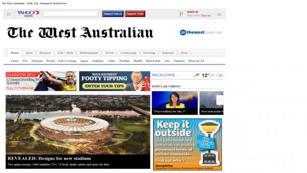 Figure 1 – The Front page of the West Australian