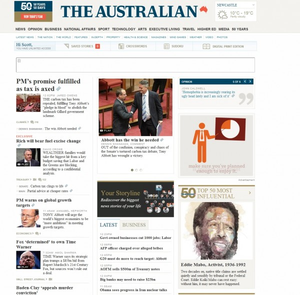 Figure 2. The Australian newspaper