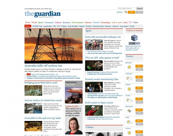 Figure 3– The Guardian front page