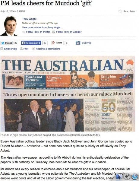 Figure 4 – The Age featuring a print version of the opposition Australian newspaper.