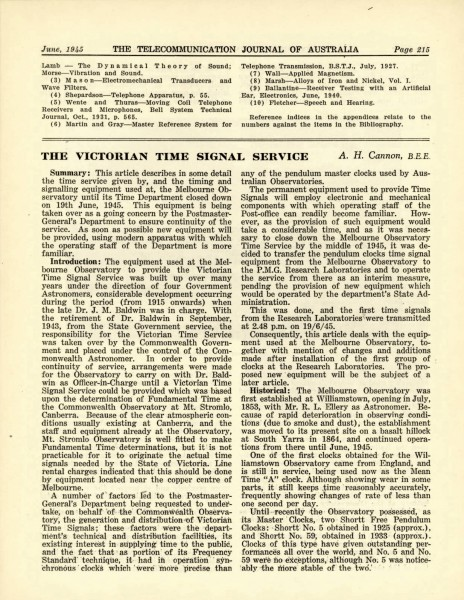 The Victorian Time Signal Service Page 1
