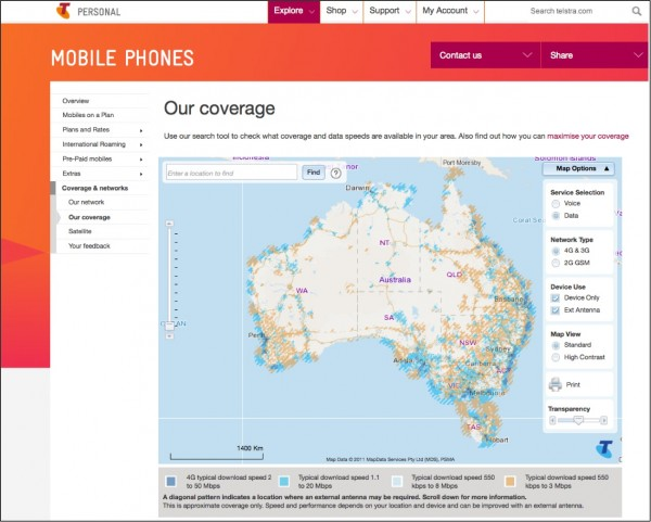Fig.1 Telstra mobile coverage map