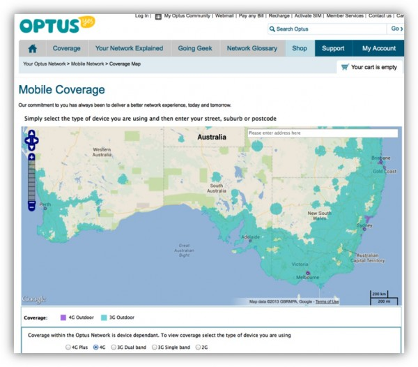 Fig. 3 Optus 3G/4G mobile coverage map