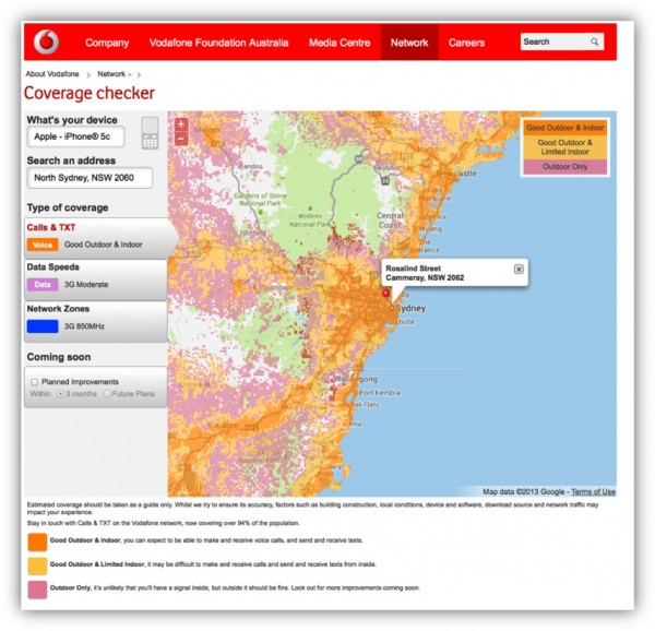 Fig. 4 Vodafone mobile voice coverage map