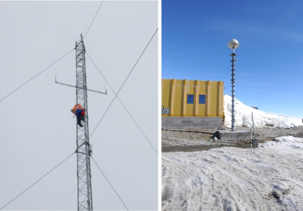 Figure 2 – (a) Technician up a mast at Casey;      (b) Davis communications building and mast